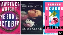 "This combination of photos shows, from left, ""The End of October,"" by Lawrence Wright, ""The Red Lotus,"" by Chris Bohjalian and ""Afterland"" by Lauren Beukes. (Knopf, from left, Doubleday, Mulholland Books via AP)"