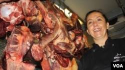 Braeside Butchery owner Caroline McCann in Johannesburg. (Darren Taylor for VOA News)