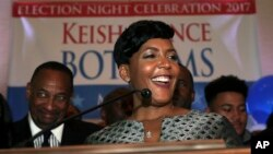 Atlanta mayoral candidate Keisha Lance Bottoms declares victory during an election-night watch party, Dec. 6, 2017, in Atlanta.