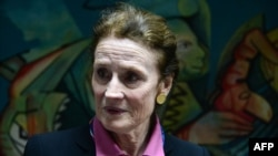 FILE - UNICEF Executive Director Henrietta Fore is pictured during an interview with AFP on April 3, 2019.