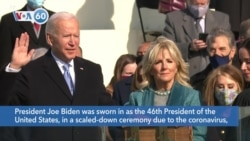 VOA60 America - President Joe Biden was sworn in as the 46th President of the United States