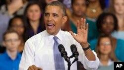 26일 미국의 오바마 대통령이 메릴랜드주 라르고의 프린스조지스 커뮤니티 대학에서 연설하고 있다.