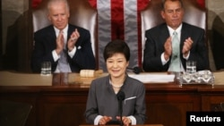 박근혜 한국 대통령이 지난 5월 미국 방문 중 의회에서 상하원 합동연설을 했다.