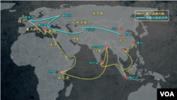 """中國""""一帶一路""""項目全球擴展示意圖"""