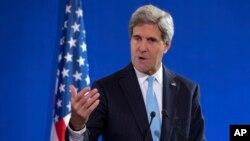 Menlu AS John Kerry memberikan penjelasan soal laporan penyelidikan senjata kimia di Suriah oleh tim inspeksi PBB (19/9).