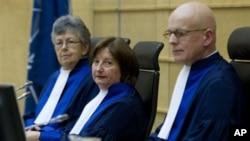 지난해 12월 로랑 그바그보 전 코트디부아르 대통령의 재판에 참석한 국제사법재판소 재판관들. (자료사진)