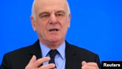 David Nabarro, candidate for director general of the World Health Organization, attends a news conference at WHO headquarters in Geneva, Switzerland, Jan. 26, 2017.