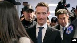 CEO Facebook Mark Zuckerberg tiba di Capitol Hill, Washington, 9 April 2018, untuk bertemu dengan Senator Dianne Feinstein, anggot Komite Pengadilan Senat.