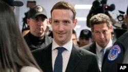 CEO Facebook Mark Zuckerberg tiba di Capitol Hill, Washington DC, Senin (9/4).
