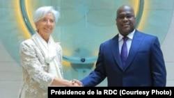 Mokambi ya FMI (Fonds monétaire international), Christine Lagarde, na président Félix Tshisekedi ya Congo démocratique na Washington, le 9 avril 2019. (Facebook/Présidence de la RDC)