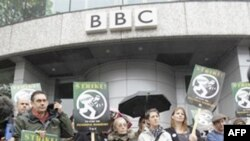 Спілка журналістів Великобританії організувала дводенну демонстрацію перед приміщенням телекомпанії BBC у західній частині Лондона
