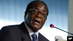Zimbabwean President Robert Mugabe delivers his speech at the United Nations Food and Agriculture Organization FAO headquarters during a World Summit on Food Security, in Rome, Tuesday, Nov. 17, 2009. (AP Photo/Alessandra Tarantino, pool)