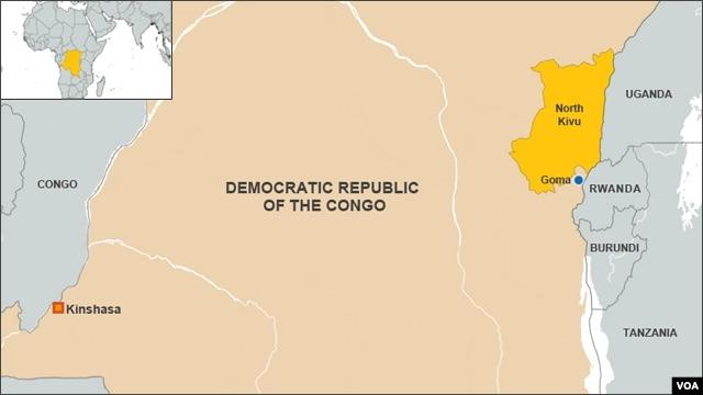DRC map, North Kivu province