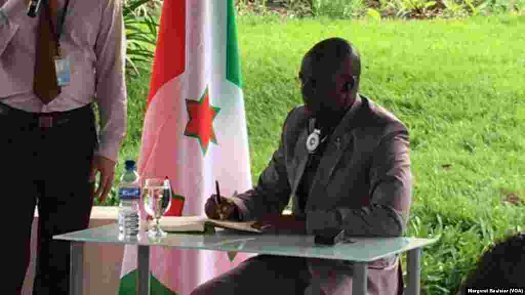 Burundi's first Vice President Gaston Sindimwo addresses members of the United Nations Security Council, at his residence in Bujumbura, Jan. 22, 2016.