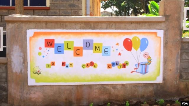 "Sign outside the new day care center at Langata Women's Prison in Nairobi, Kenya, January 23, 2013."" (VOA/Jill Craig)"