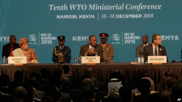 Director General of the World Trade Organisation, Roberto Carvalho, right, the Liberian President, Johnson Sirleaf, left, and Kenyan President, Uhuru Kenyatta, center, during the official opening of the Tenth WTO Ministerial Conference in Nairobi, Kenya, Dec. 15, 2015.