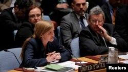 사만다 파워 유엔 주재 미국대사가 지난달 뉴욕 유엔본부에서 열린 안보리 회의에서 발언하고 있다. (자료사진)