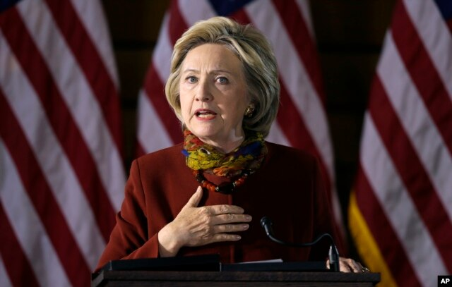Democratic presidential candidate Hillary Clinton speaks about her counterterrorism strategy during a speech at the University of Minnesota in Minneapolis, Dec. 15, 2015.