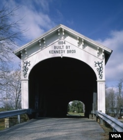 The Kennedys of Indiana, a large bridge-building family, designed and built this lovely covered bridge in rural Rush County, Indiana. (Carol M. Highsmith)
