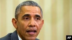 Presiden AS Barack Obama berbicara mengenai Iran dan PM Israel Benjamin Netanyahu di Gedung Putih (3/4). (AP/Jacquelyn Martin)