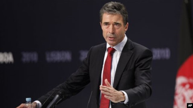 NATO Secretary General Anders Fogh Rasmussen speaks at the Nato summit in Lisbon, Portugal, 20 Nov 2010