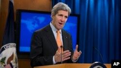 美國國務卿克里1月16日在國務院談論敘利亞局勢。(資料照片)