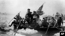 In this undated file photo Gen. George Washington leads his troops across the Delaware River in this painting by Emmanuel G. Leutze, Dec. 1776, during the Revolutionary War. (AP Photo)