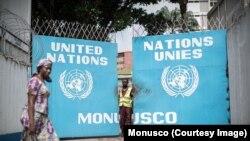 L'entrée principale du siège de la Mission des Nations unies en RDC, à Kinshasa, 9 août 2017. (Twitter/Monusco)