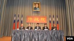 台湾行政院2月28日阐述两岸两会第10次高层会议(美国之音 申华拍摄)