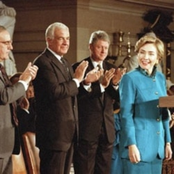 Hillary Rodham Clinton speaks about her health care plan at the Capitol building in 1993