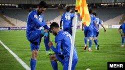 شادی بازیکنان استقلال بعد از گل به لوکوموتیو ازبکستان