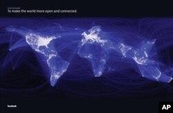 脸书招股书中附加的一张世界各大洲的图片