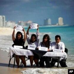 示威者批評各國未能有效處理全球變暖問題。