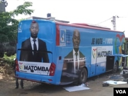 Opposition candidate Serge Espoir Matomba's campaign bus is seen in Yaounde, Cameroon, Sept. 22, 2018. (M.E. Kindzeka/VOA)