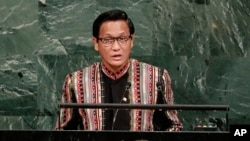 Myanmar's second Vice President Henry Van Thio addresses the United Nations General Assembly, Sept. 20, 2017, at the United Nations headquarters.