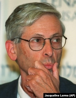"Binyamin Zeev ""Benny"" Begin, son of former Israeli Prime Minister Menachem Begin, listens to questions during a press conference in Jerusalem, Sunday May 16, 1999"