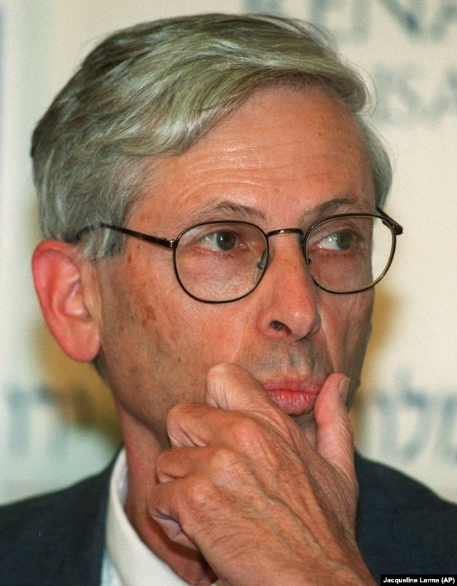 "Binyamin Zeev ""Benny"" Begin, son of former Israeli Prime Minister Menachem Begin, listens to questions during a press conference in Jerusalem, Sunday May 16, 1999"