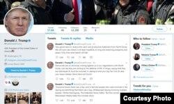 도널드 트럼프 미국 대통령의 트위터 첫 페이지. 트위터 캡처.