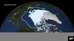 Bức ảnh của NASA cho thấy băng tuyết vào mùa hè ở Bắc cực và theo các khoa học gia biển băng đã thu nhỏ lại đến mức thấp nhất từ trước đến nay