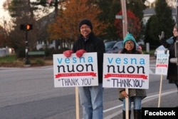 Vesna Nuon with his daughter during a campaign for the city council election. On Nov 7, Nuon gathered the largest votes and was elected to the city council. (Facebook of Vesna Nuon for City Council)