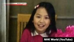 Hình ảnh em Lê Thị Nhật Linh trên truyền hình NHK của Nhật Bản.
