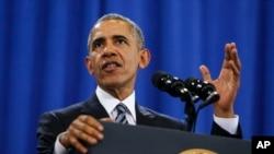 奥巴马总统在佛州迈克迪尔空军基地发表讲话(2016年12月6日 资料图片)