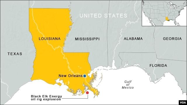 Vị trí nổ giàn khoan dầu của công ty Black Elk Energy.