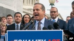 Rep. David Cicilline, D-R.I., speaks before a House vote on the Equality Act of 2019, an LGBT rights measure, at the Capitol in Washington, May 17, 2019. The bill later passed the House 236-173.