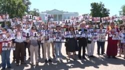 活动人士白宫前呼吁奥巴马就人权向习施压