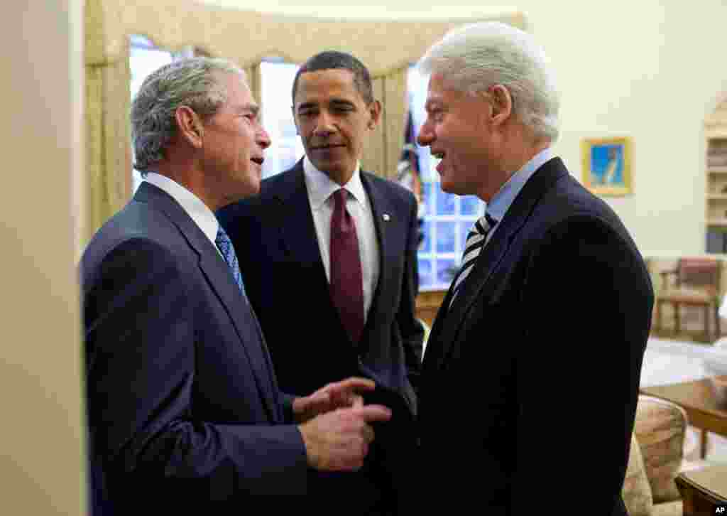 "Jan. 16: President Obama had called on the two former Presidents to help with the situation in Haiti. During their public remarks in the Rose Garden, President Clinton had said about President Bush, ""I've already figured out how I can get him to do some t"