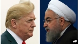 A combination of two pictures shows U.S. President Donald Trump (L) on July 22, 2018, and Iranian President Hassan Rouhani on Feb. 6, 2018.
