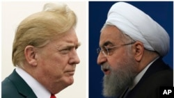U.S. President Donald Trump, left, on July 22, 2018, and Iranian President Hassan Rouhani on Feb. 6, 2018.