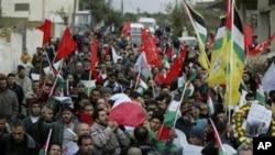 巴勒斯坦人在约旦河西岸为36岁的示威者拉赫梅举行葬礼
