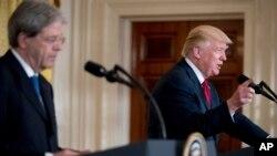Премьер-министр Италии Паоло Джентилони и президент США Дональд Трамп